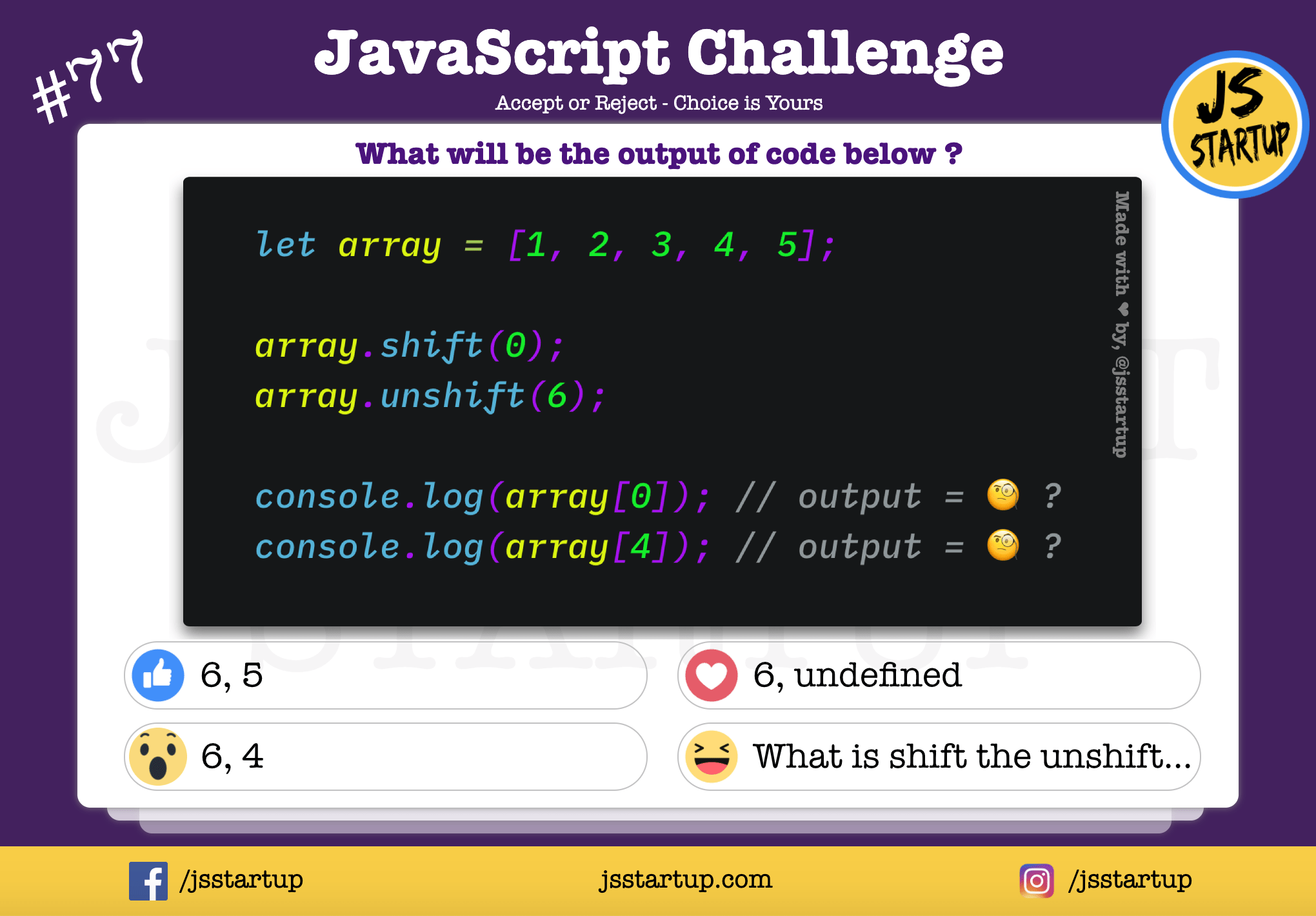 JavaScript Quiz – Find value after using array shift and unshift