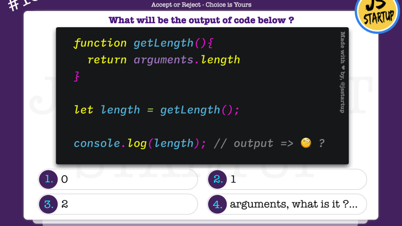 JavaScript Quiz – does arguments is a default function parameter