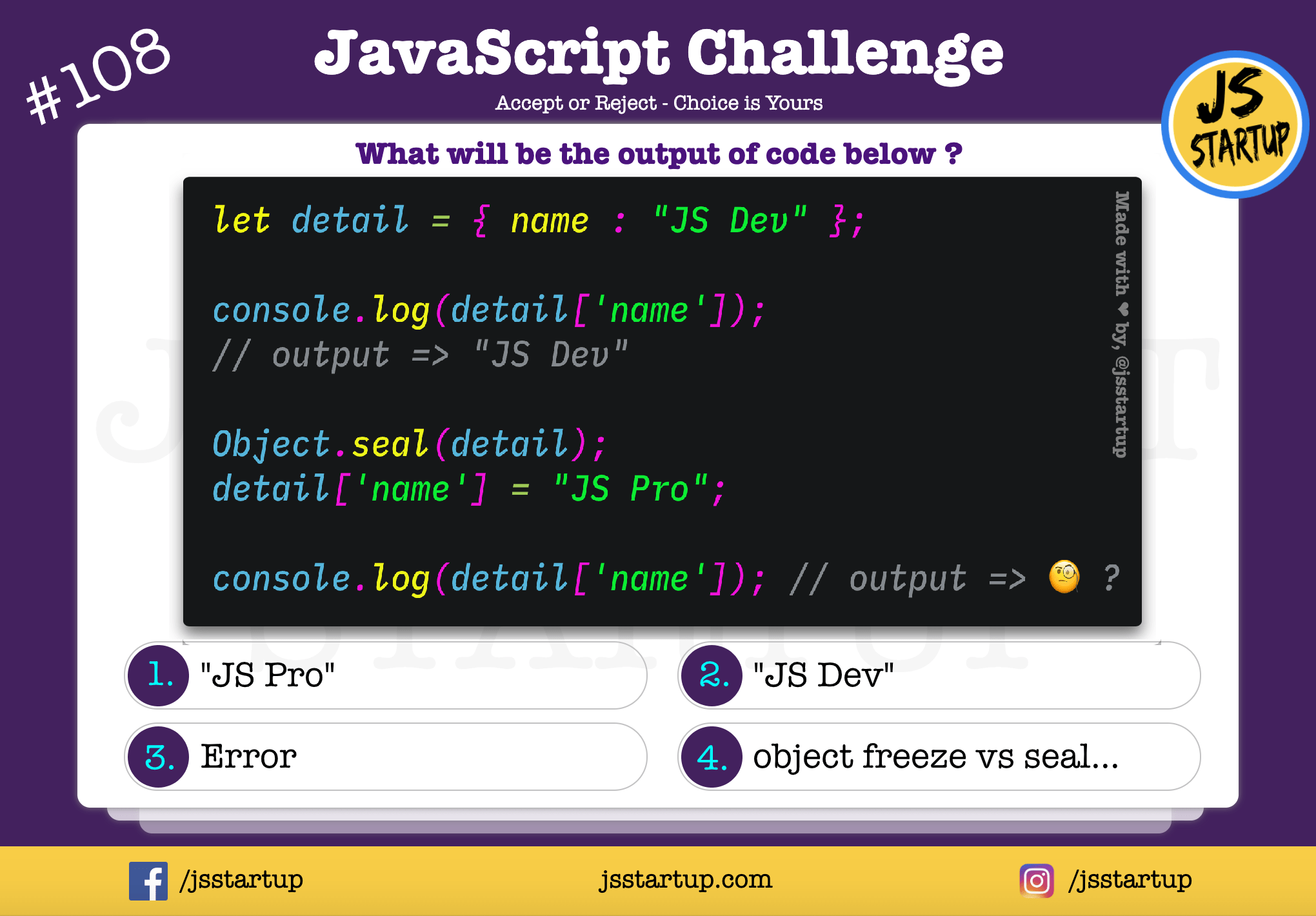 JavaScript Quiz – object seal method can restrict value change