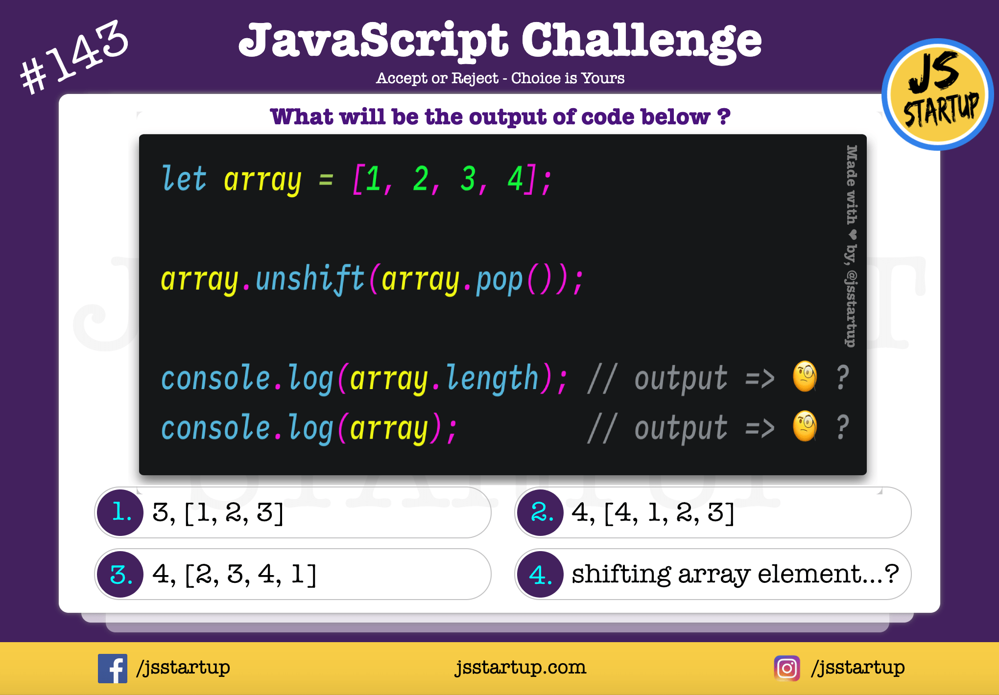 JavaScript Quiz – does it shift array element to the right