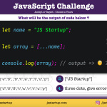 JavaScript Quiz - three dots with string variable will expand - JS Startup