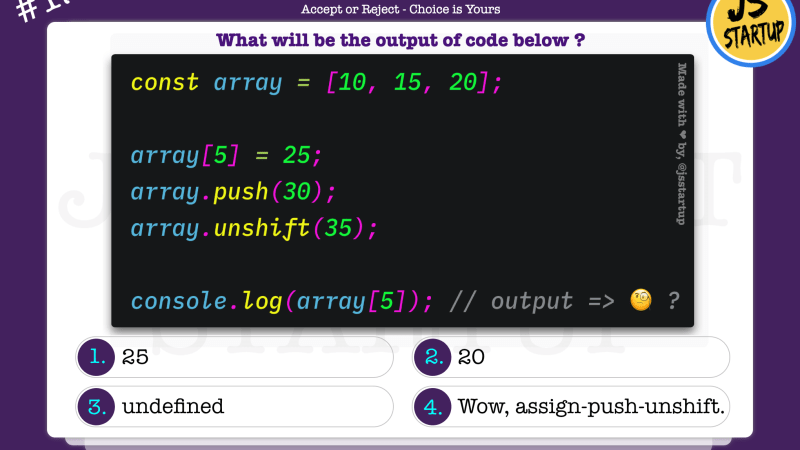 JavaScript Quiz – what really is the array index value