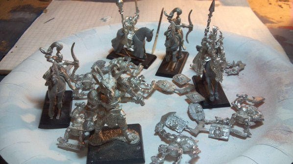 Orcs, mounted elven archers and mages before priming. Click to Enlarge.