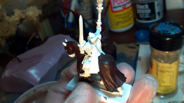 Beginning a new miniature, mounted magic user. Click to Enlarge.
