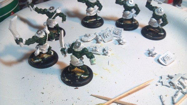 Six orcs and six shields with a quick base coat. Click to Enlarge.
