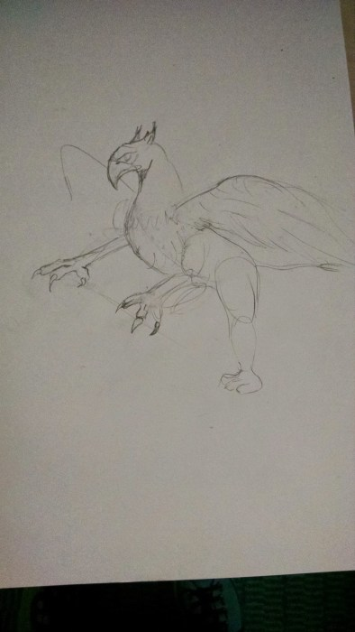 Griffin, Griffon, or Gryphon. It's the initial sketch. Click to Enlarge.