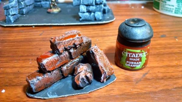 Test piece with Citadel Fuegan Orange wash. Click to Enlarge.