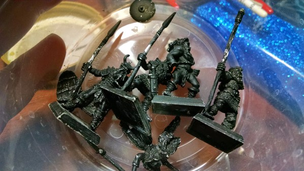 Stripping Paint from Miniatures with Simple Green. Click to Enlarge.