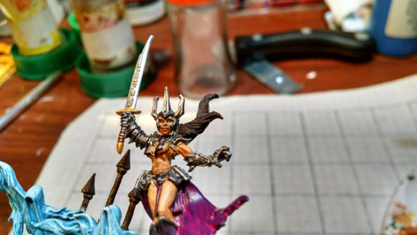 Reaper 03308; Marise Greyshroud, painted and based. Click to Enlarge.