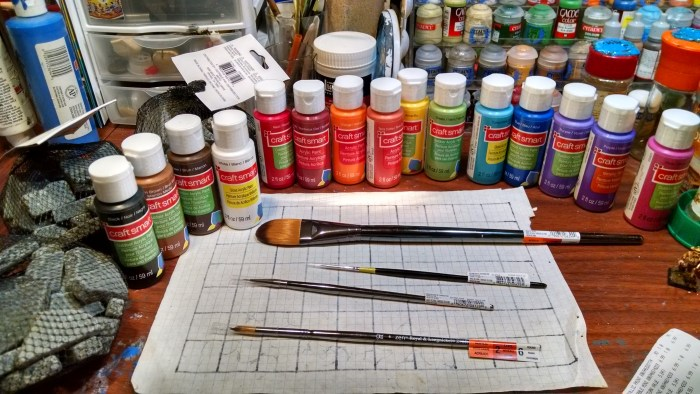 New Craft Paints and Brushes. Click to Enlarge.