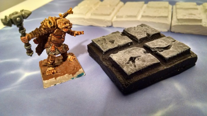 Painted Dungeon Tile with a miniature for scale. Click to Enlarge.
