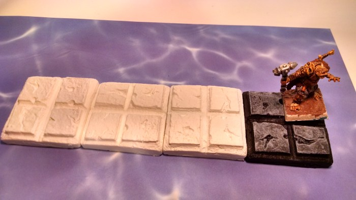Painted Dungeon Tiles with a miniature for scale. Click to Enlarge.