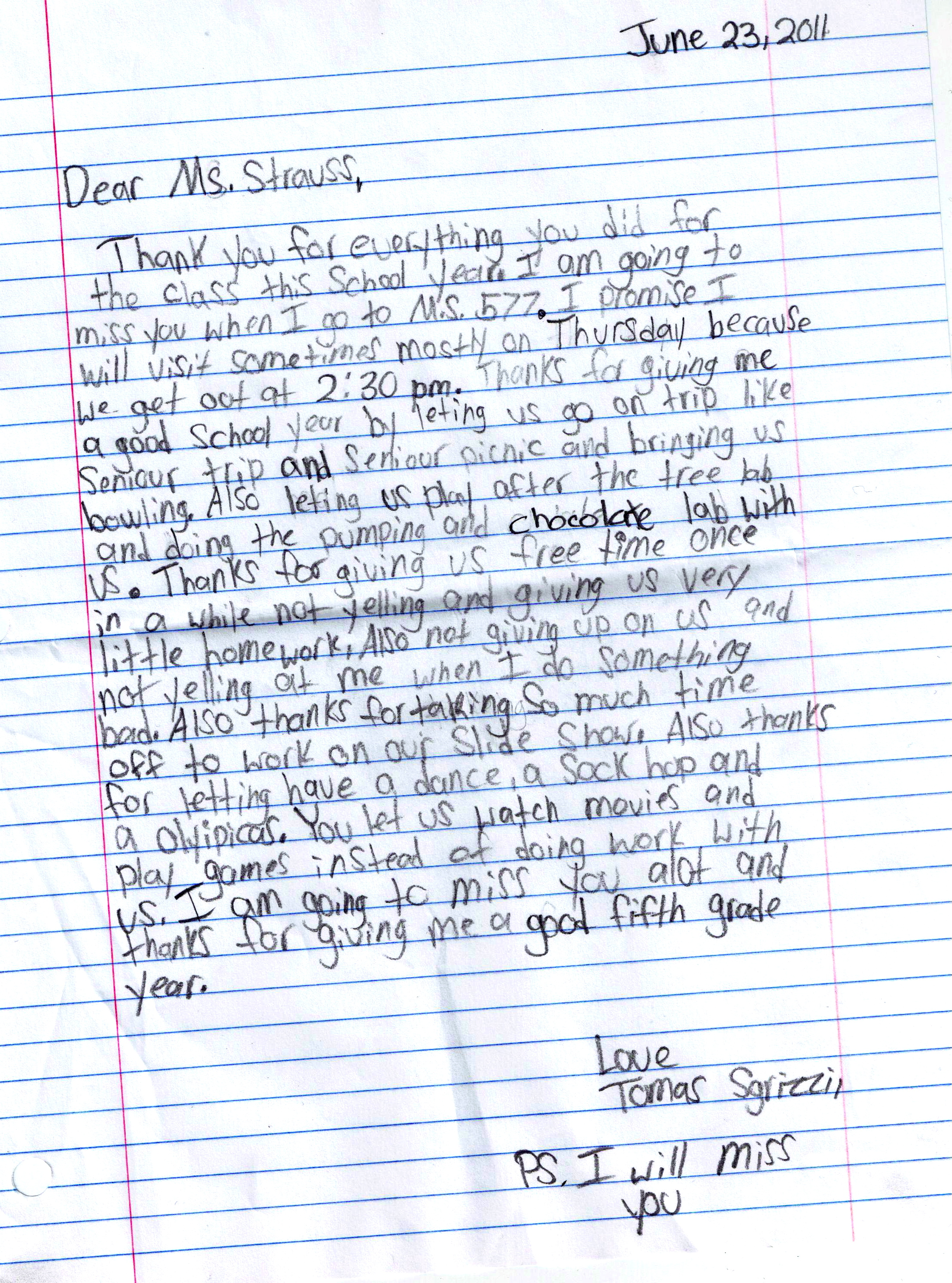 Letters From Kids and Parents  Joanne Strauss