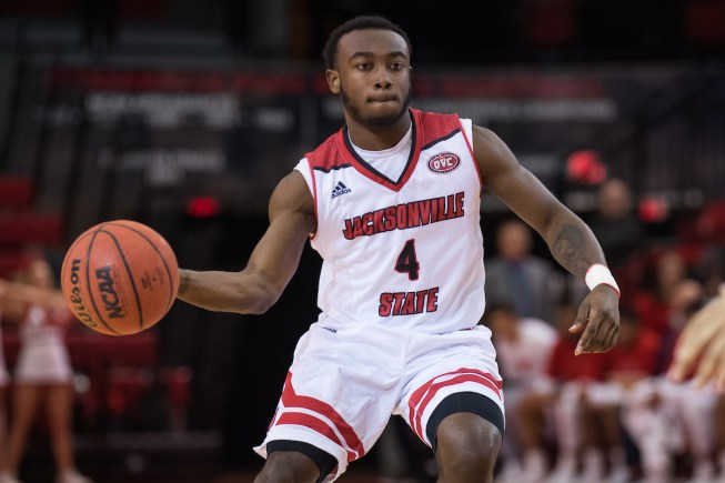 Matt Reynolds/ JSU The Jacksonville State men's basketball team was not able to be the first league opponent to take down first-place Belmont Thursday at Pete Mathews Coliseum, falling 66-53. Tyrik Edwards (4).
