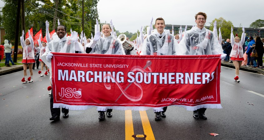 The JSU Marching Southerners participate in the 2019 Homecoming Parade on Saturday, October 19. (Grace Cockrell/JSU)