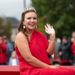 Homecoming Queen Abbie Beatty waves to the crowd as she participates in the Homecoming Parade. (Grace Cockrell/JSU)