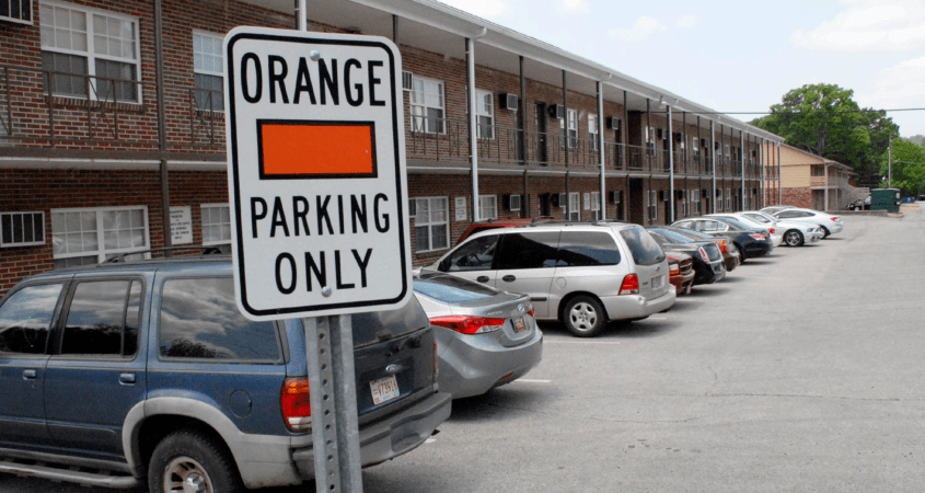 An orange parking zone located at the Campus Inn Apartments, a university owned dorm by Salls Hall. (Zach Tyler/The Chanticleer)