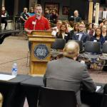 Justin Jones, a junior and an SGA Student Senator, addresses the panel of university officials at the town hall in the fifth floor of Meehan Hall on Wednesday, October 30. (Stephen Gross/The Anniston Star)