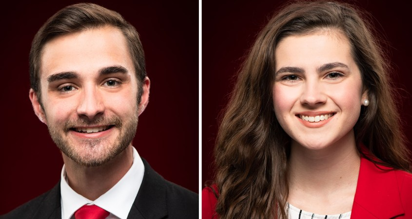 Jerod Sharp, left, and Kate Seibert, right, serve as the vice president of student senate and vice president of public relations, respectively. (Matt Reynolds/JSU)