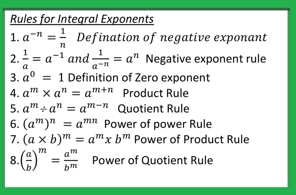 medium resolution of Exponent and Power - JSUNIL TUTORIAL CBSE MATHS \u0026 SCIENCE