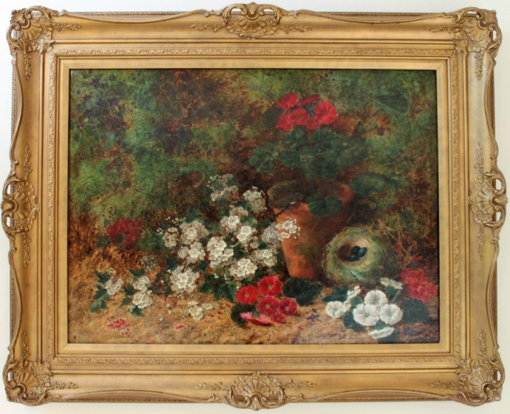 SOLD: Still Life of Flowers with a Nest – Oliver Clare