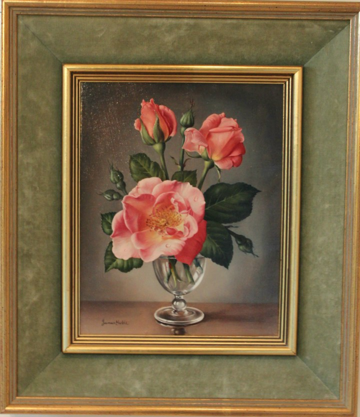 Pair of Still Life Roses – James Noble
