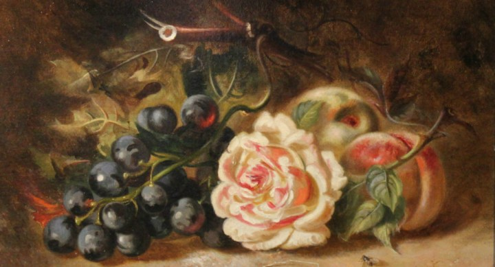 SOLD: Minnie F W Gilbert – Still life of roses and fruits
