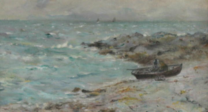 Boat moored in a rocky cove – Wellwood Rattray