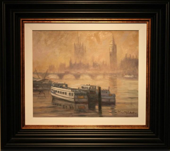 Barges moored near Westminster Bridge - John TrickettBarges moored near Westminster Bridge - John Trickett