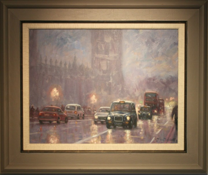 Traffic on Westminster bridge near Houses of Parliament by John Trickett.