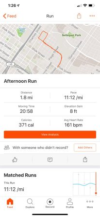 Strava phone app, post run