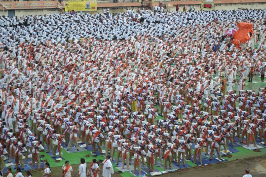 Yashwant Stadium fills to capacity for World Yoga Day