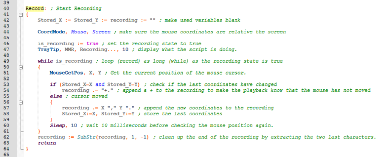 Recording part of the mouse macro recorder