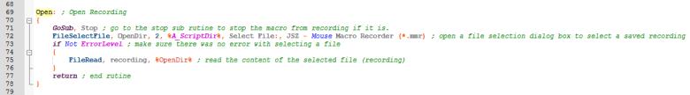 Mouse macro recorder open routine
