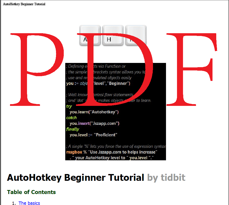 AutoHotkey Beginner Tutorial PDF