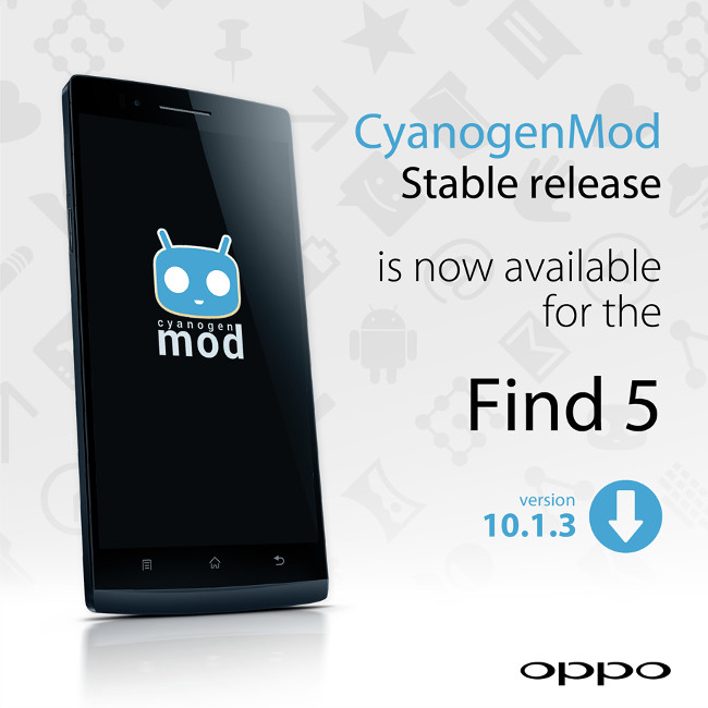 rom android custom cyanogenmod 10.1.3 stable oppo find 5