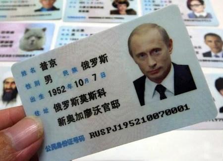carte d'identité autocollante factice
