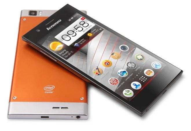 smartphone android lenovo k900 de couleur orange
