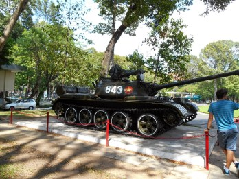 A North Vietnamese tank that was used during the capture of the South Vietnamese headquarters.