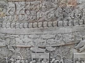 Stone carving on wall at Angkor Thom