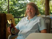 Mom drinking Chang Beer in Thailand