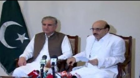 Muzfar Abad , FM Shah-Mehmood-Qureshi-address to Press Conference with President of AJK Masood-Khan-in 12th august 2019.