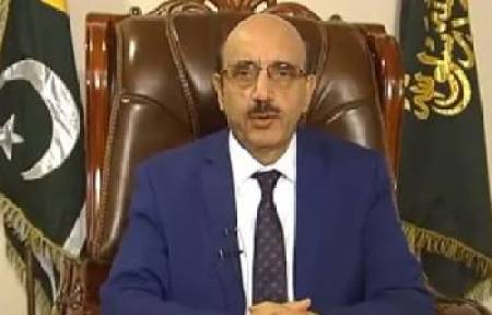 President of Azad Jammu and Kashmir Sardar Masood Khan talking with media at Islamabad