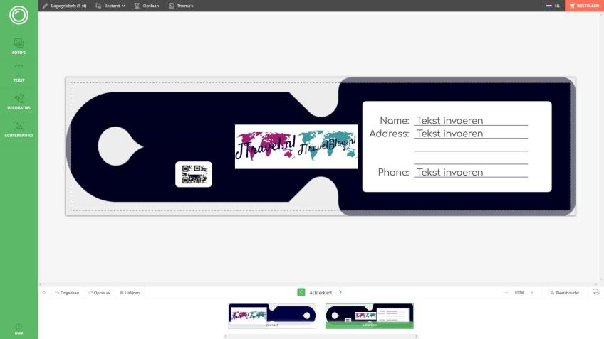 De achterkant van mijn ontwerp van de kofferlabel van Fotofabriek.nl