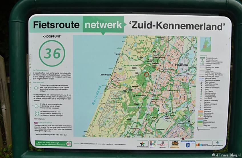 Bord van het fietsroutenetwerk Zuid-Kennemerland tijdens het fietsen van de Manpadroute