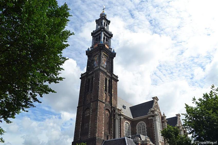 De Westertoren in Amsterdam tijdens etappe 0 van het Westerborkpad