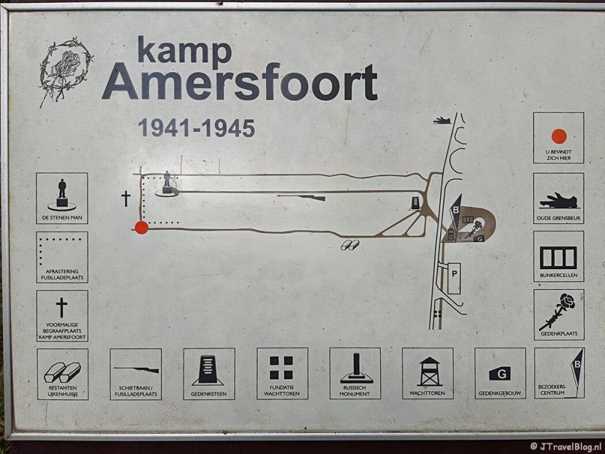 De plattegrond van Kamp Amersfoort tijdens de 9e etappe van het Westerborkpad