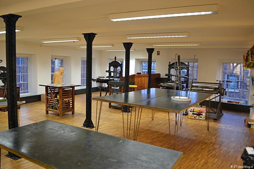 In het Werkman atelier in het GRID Grafisch Museum in Groningen