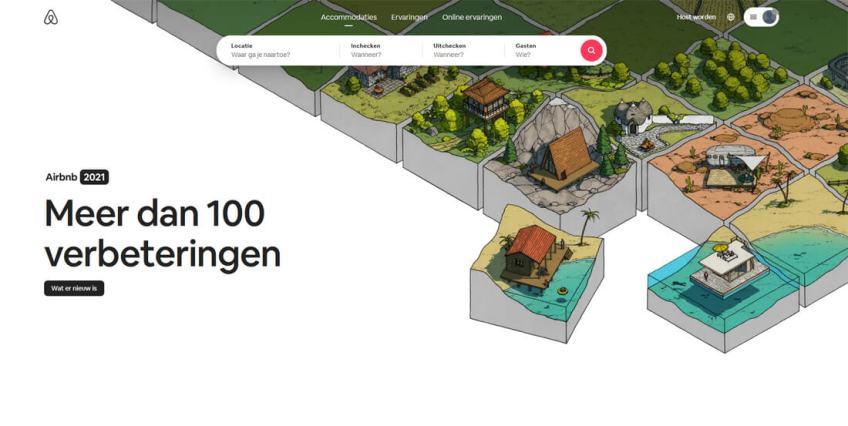 De website van Airbnb