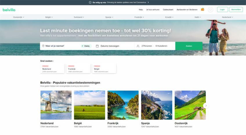 De website van Belvilla om een vakantiehuis te huren
